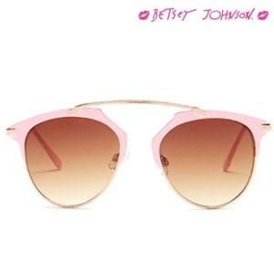 Betsey Johnson ~ Retro Sunglasses PINK/GOLD